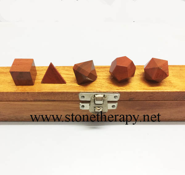 Red Jasper Geometry Set with wooden box