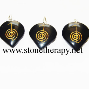 Black Agate Heart Engraved Reiki Pendants
