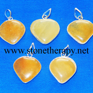 Yellow Aventurine Heart Shape Pendants