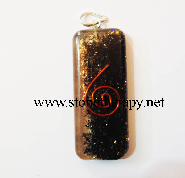 Black Tourmaline long rectangle Shape Pendant