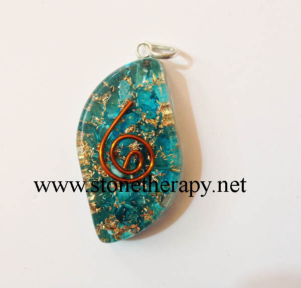 Blue Onyx Eye Shape Orgone Pendants