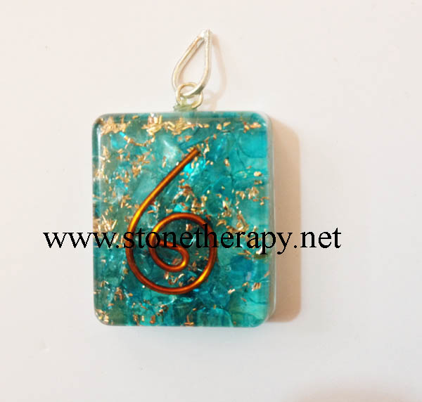 Blue Onyx Square Shape Orgone Pendants