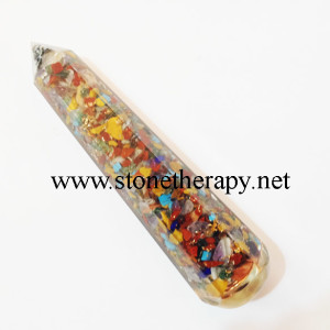 Mix Chakra Orgone Facetted Masage Wand