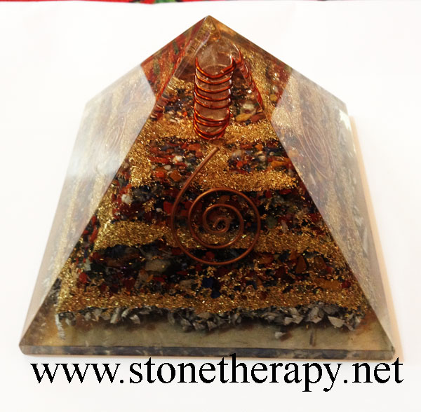 Multistone Gemstone copper Aluminium Layer Pyramid With Crystal Point