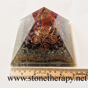 Amethyst Aluminium :ayer Vastu Orgone Pyramid with Crystal Point