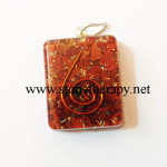 Red Jasper Square Shape Orgone Pendant
