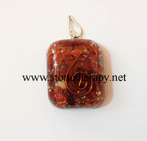 Red Jasper Square Shape with round edge Orgone Pendant