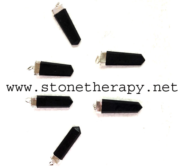 Black Tourmaline Flat stick Pendants
