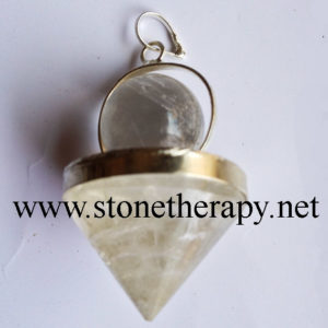 Crystal Quartz cone with Crystal bead Pendants